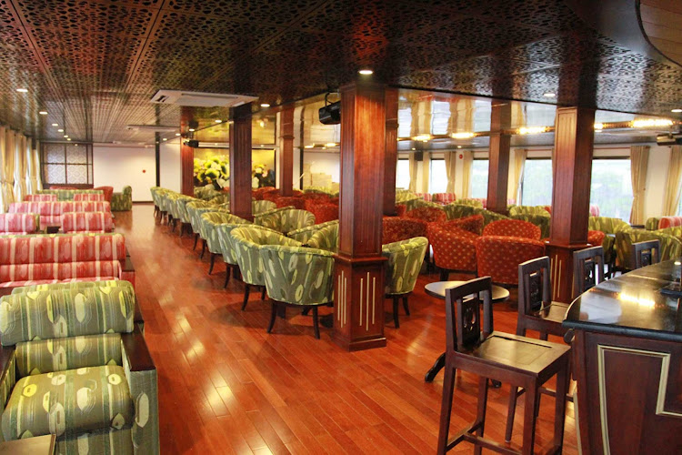 The traditional flair of AmaLotus' Saigon Lounge will be inviting as you sail the Mekong River.