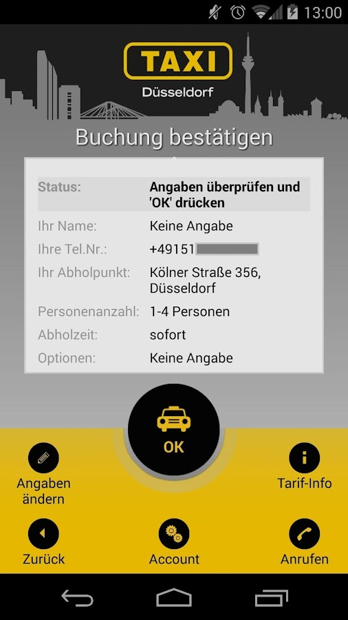 taxi d sseldorf android apps on google play. Black Bedroom Furniture Sets. Home Design Ideas