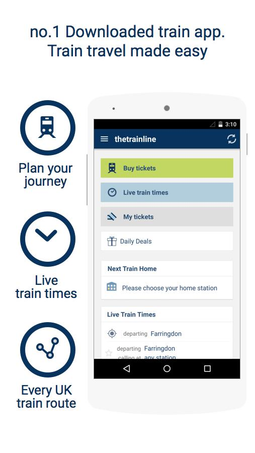 thetrainline times and tickets - screenshot