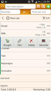 Shopping List Screenshot