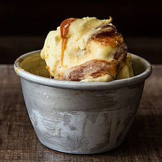 Olive Oil-Saffron Ice Cream with Burnt Orange-Caramel Swirl