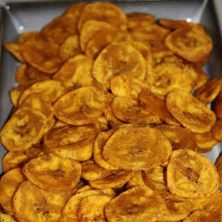 Baked Plantain Chips.