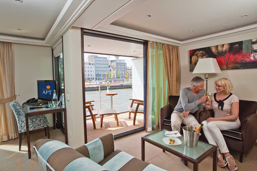 AmaBella-Stateroom-Owners-Suite - Spend an evening celebrating your cruise in the privacy of your spacious Owner's Suite on board AmaBella.