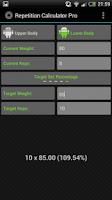 Screenshot of Rep Calc Pro (1 Rep Max)