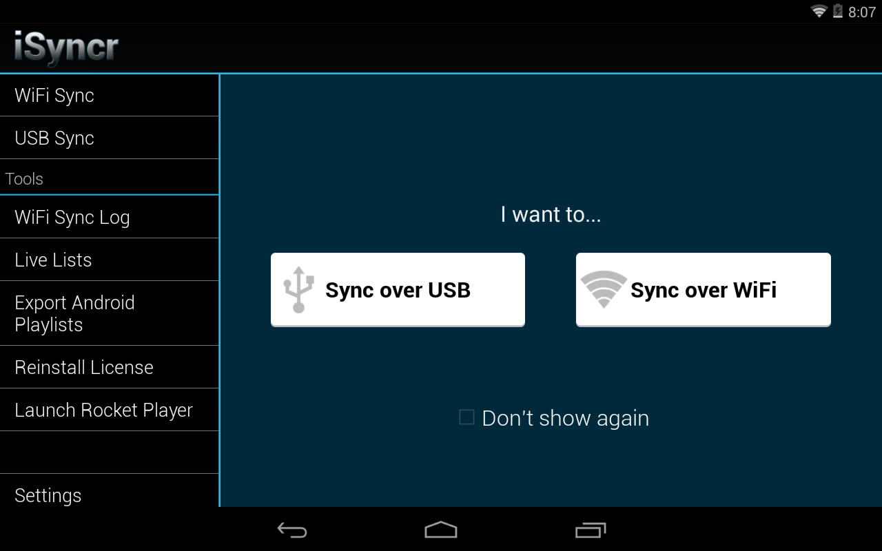 iSyncr for iTunes to Android - screenshot
