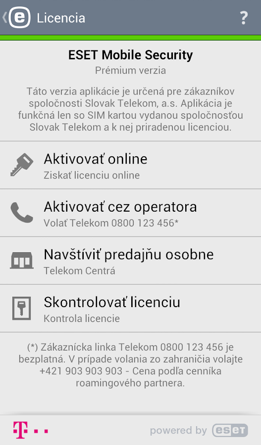 Mobile Security Telekom Edícia - screenshot