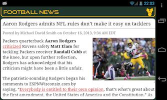 Screenshot of Green Bay Football News