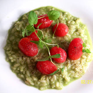 Avocado Risotto with Cherry Tomatoes and Mint.