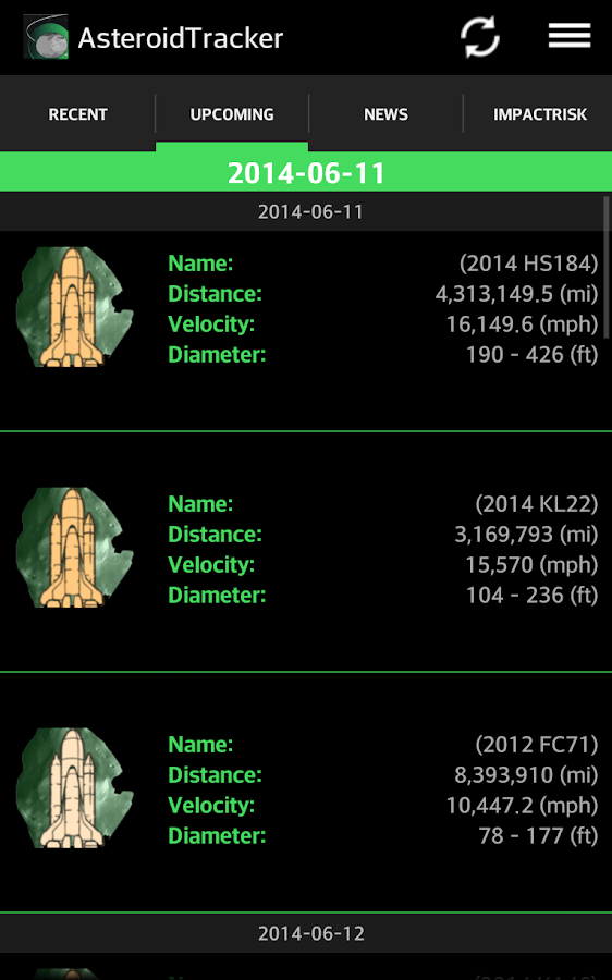 Asteroid Tracker- screenshot