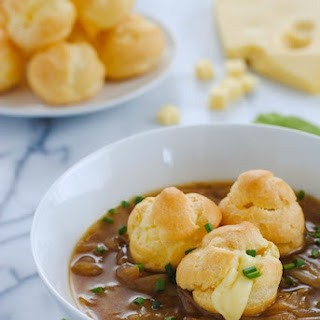 French Onion Soup with Cheese-Filled Gougeres