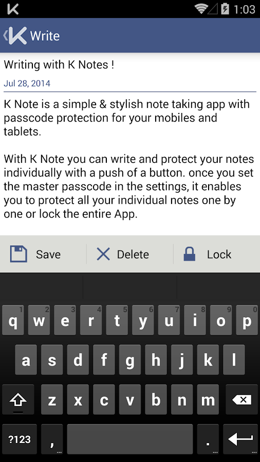 K Notes - A secure note- screenshot