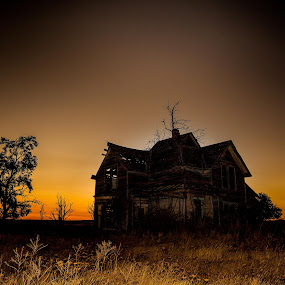Centerville Ghost House by Glenn Miller - Buildings & Architecture Decaying & Abandoned ( silhouette, sunset, victorian, ghost house, nightscape )