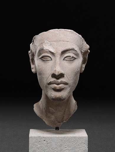 Antique cast of a statue head of Akhenaten