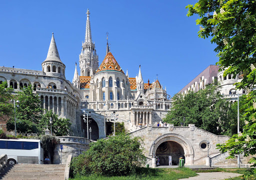 Fisherman's Bastion on the Buda bank of the Danube River in Budapest, Hungary.