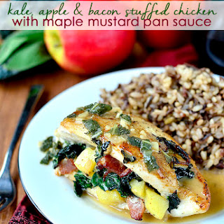 Kale, Apple, and Bacon Stuffed Chicken with Maple Mustard Pan Sauce
