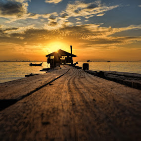 A Glorious Day by Adrian Choo - Landscapes Sunsets & Sunrises ( dilapidated, shed, wooden, dawn, bright, penang, sea, sunshine, jetty, sunrise, boat )