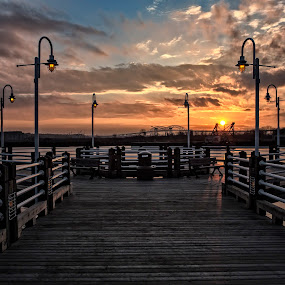 Pier Sunset by Melissa Connors - Landscapes Sunsets & Sunrises ( st. mary's rive, canada, sunset, pier )