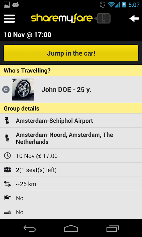 ShareMyFare- screenshot