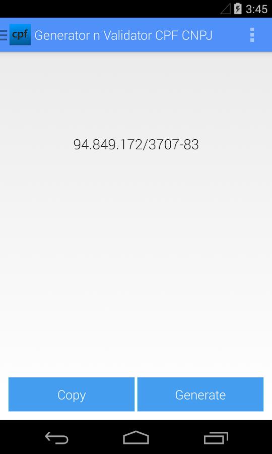Generator n Validator CPF CNPJ - screenshot