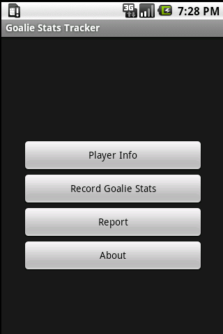 Goalie Stats Tracker- screenshot