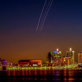 Louisville at night by Stephanie Turner - City,  Street & Park  Skylines ( night scene, skylines, cityscape, city skyline, nightscape )