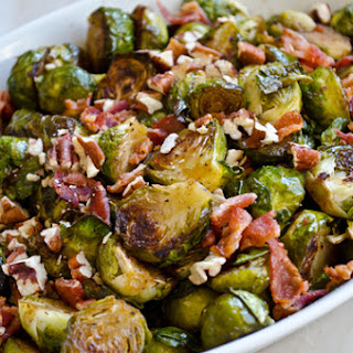 Roasted Brussels Sprouts with Bacon, Pecans & Maple Syrup.
