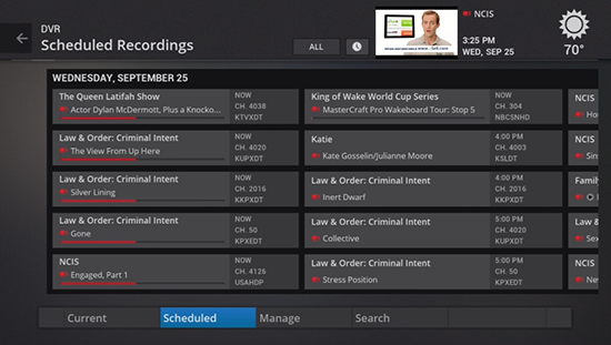 View scheduled recordings on legacy Fiber TV