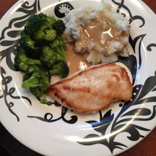 Greg's Pan Seared Chicken, Mashed Potatoes, Gravy and Broccoli.