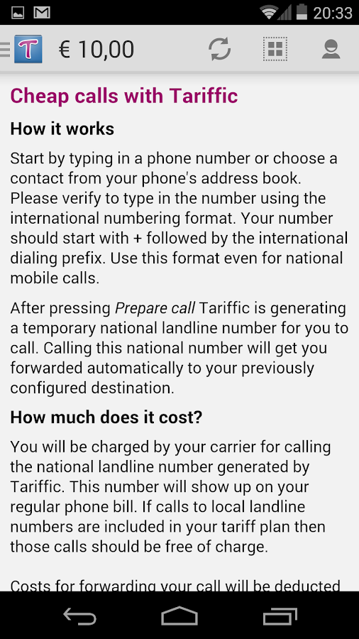 Tariffic - make cheap calls - screenshot