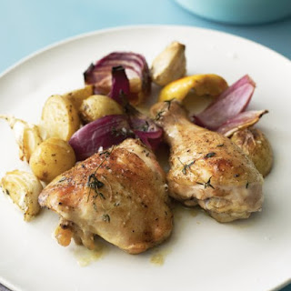 Baked Chicken with Onions, Potatoes, Garlic, and Thyme.