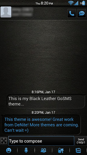 Leather Blue GoSMS Theme