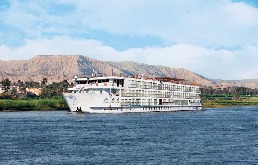 Uniworld's River Tosca sails through the historic Nile River Valley during her voyage through Egypt