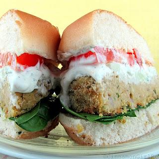 Falafel Burgers with Feta Tzatziki Sauce.