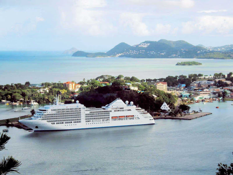 Silver Spirit in St. Lucia in the Caribbean. The ship's lithe size lets it calls on smaller ports that large cruise ships can't reach.