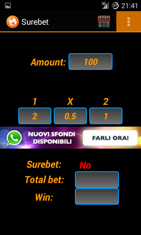 Arbitrage betting - screenshot