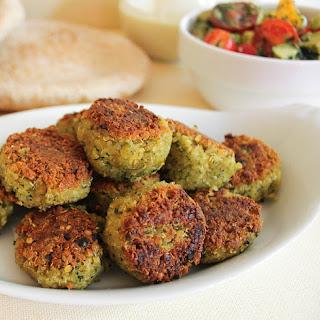 """Quinoa """"Falafel"""" with Avocado-Tomato Relish."""