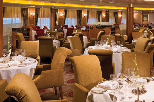 Enjoy breakfast, lunch or dinner in the refined atmosphere of the Compass Rose Restaurant aboard Seven Seas Voyager.