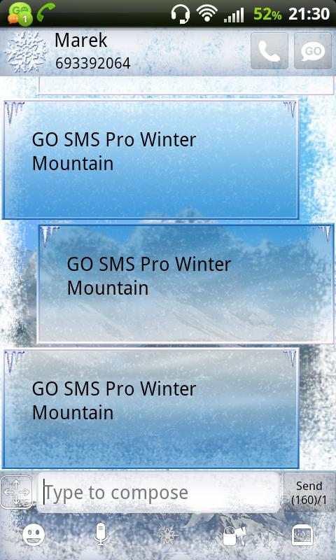 GO SMS Pro Winter Mountain - screenshot