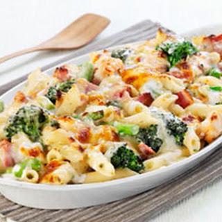 Cheesy Ham and Broccoli Pasta Bake.