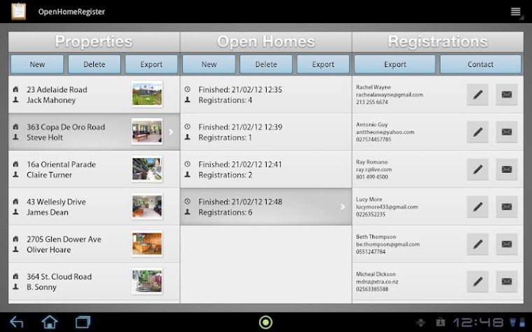 Open House Register Screenshot