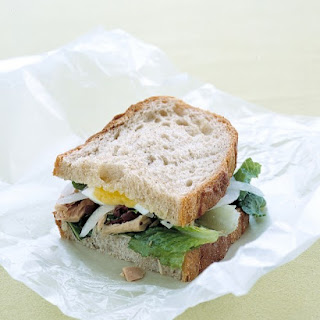 Tuna and Egg Sandwich with Garlic Vinaigrette.