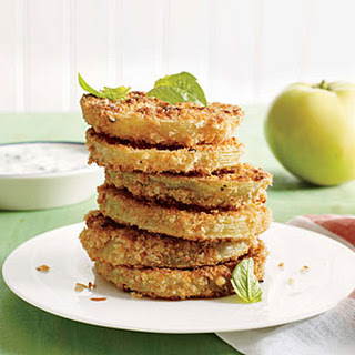 "Pickled ""Fried"" Green Tomatoes with Buttermilk-Herb Dipping Sauce"