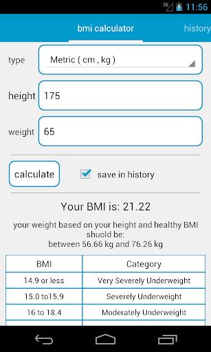 BMI Calculator Tracker Graph