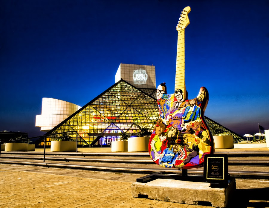Cleveland Rocks by Jerry Phenney - Buildings & Architecture Public & Historical ( building, night, rock hall, guitar mania, cleveland )