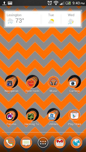 Chevron Orange Silver Theme