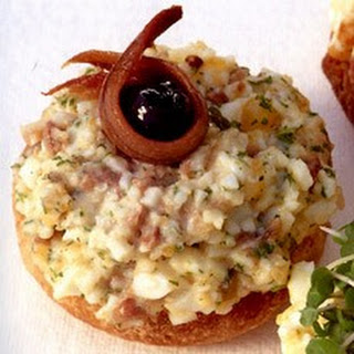 Open-Faced Egg, Anchovy and Shallot Sandwiches Recipe