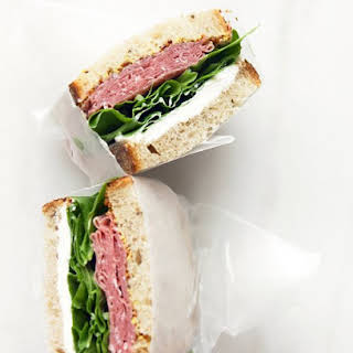 Salami and Cream Cheese Sandwich.