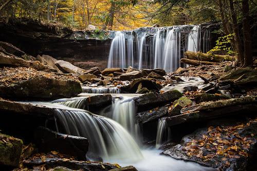Oneida Falls by Michael Sharp - Nature Up Close Natural Waterdrops ( water, pa, fall foliage, waterfall, fall, pennsylvania, oneida falls 13', united states, ricketts glen )