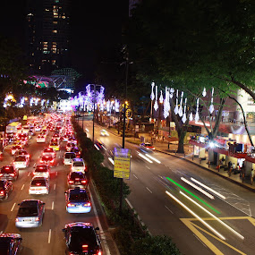 Orchard Road during Christmas eve by Venkat Ramanan - City,  Street & Park  Street Scenes ( night traffic, orchard road, christmas eve, light-up, singapore )