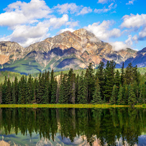 by Chrysta Rae - Landscapes Mountains & Hills ( reflection, mountain, summer day, clouds in sky, lake, landscape, mother nature, mountains, blue sky, nature, mountain lake, landscape photography, summer )